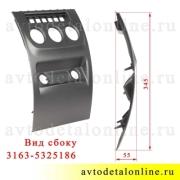 Размер нижней облицовки центральной консоли УАЗ Патриот номер накладки панели приборов управления 3163-5325186