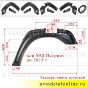 Размеры расширителей колесных арок Патриот до 2015 г, пластик ABS, с резиновым уплотнителем (бушвакеры УАЗ)