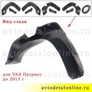 Пластиковые бушвакеры УАЗ Патриот до ноября 2014 с резиновым уплотнителем, для установки на колесные арки