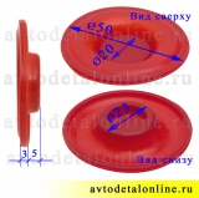 Размер прокладки диафрагмы клапанной крышки ЗМЗ-409 УАЗ, ГАЗ, красный силикон Ростеко на замену 40624-1004092