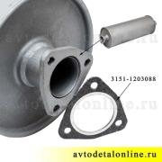 Глушитель выхлопа на УАЗ-469, Хантер, 31519, Буханка, 3909, фото, купить на замену 3151-1201010-11, цена