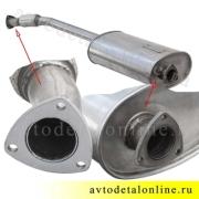 Глушитель УАЗ Патриот, Евро-3 с 2008г, нержавеющая сталь, с гофрой, 3163-1201010-01, размеры на фото
