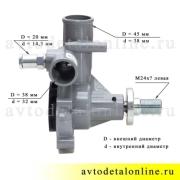 Размеры водяной помпы двигателя ЗМЗ-406 на ГАЗ, УАЗ производство АДС, замена насоса 4061-1307010-10