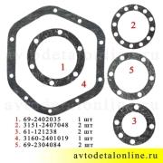 Ремкомплект паронитовых прокладок переднего моста УАЗ Париот, Хантер