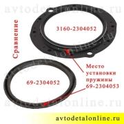 На фото сравнение сальника поворотного кулака 3160-2304052 УАЗ Патриот, Хантер с кольцом 69-2304053