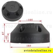 Размеры колпака диска УАЗ Патриот 2360-21-3102100, ПРОФИ на 6 болтов, закрывает ступицу