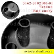 Фото вида сзади колпака колеса УАЗ Патриот, Хантер, 3162-3102100-01, 5 отверстий, черный пластик