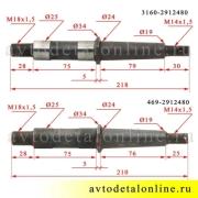 Сравнение пальца рессоры УАЗ 469-2912480 в сборе 469-2912476 с осью рессоры 3160-2912480 в сборе 3160-2912476