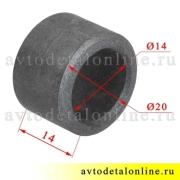 Фото с размером металлической втулки буфера 3160-2902623 передней и задней подвески (отбойник) УАЗ Патриот