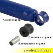 Установка нижней втулки амортизатора УАЗ Патриот, Хантер, 3160-2905432 резиновой в передней и задней подвеске
