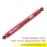 Амортизатор передний УАЗ Хантер газомасляный, Шток-Авто SA205-2915004-10730 лифт +30 мм замена 3159-2915006