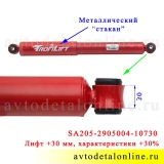 Размер амортизатора переднего УАЗ Хантер, газомасляный, Трофи Лифт +30 Шток-Авто SA205-2915004-10730, ухо-ухо
