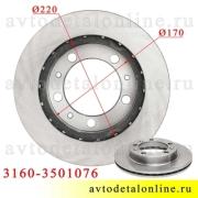 Тормозной диск УАЗ размеры на Патриот, Хантер, передний на замену, 3160-3501076-02, фото