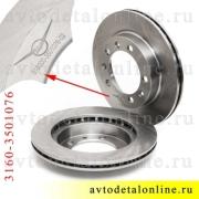 Передний тормозной диск УАЗ Патриот 3163, Хантер 31519, на замену 3160-3501076, фото