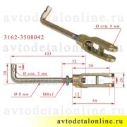Размеры тяги ручника УАЗ Патриот, Хантер и др. 3162-3508042, устройства регулировки стояночного тормоза