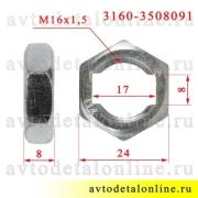 На фото размер гайки М16х1,5х8 крепления оболочки троса стояночного тормоза УАЗ Патриот и др. 3160-3508091