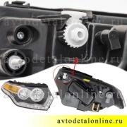 Правая блок фара головного света УАЗ Патриот 2015 нового образца с ДХО, номер 3163-3711010-20