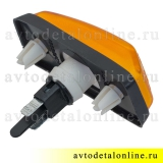 Желтый боковой повторитель поворота УАЗ Патриот 3163-3726010, поворотник дополнительный, вид сзади
