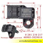 Размер датчика давления воздуха УАЗ Патриот, Хантер на ЗМЗ-409 Евро-4 номер 40905.3829010 Bosch 0 261 230 217