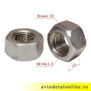 Гайка М14х1,5 серьги рессор УАЗ 250559-П29, размеры на фото
