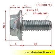 Размер болта М8х20 с зубчатым буртиком 1/38381/21, шаг резьбы 1.25 мм