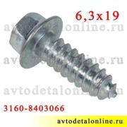 Винт-саморез 6,3*19 под шестигранный ключ 8, крепления крыла 21080-8403066, номер на УАЗ Патриот 3160-8403066