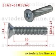 Размер винта М8*1,25*35 крепления замка двери УАЗ Патриот 3163-6105266, Красная Этна
