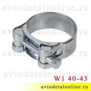 Металлический хомут силовой одноболтовый 40-43 мм Robust W1, Китай, оцинкованный