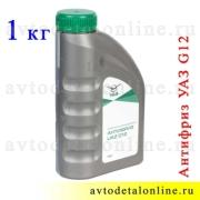 Антифриз УАЗ Патриот, Хантер и др. G12 зеленый -40С жидкость в упаковке УАЗ, 1 кг